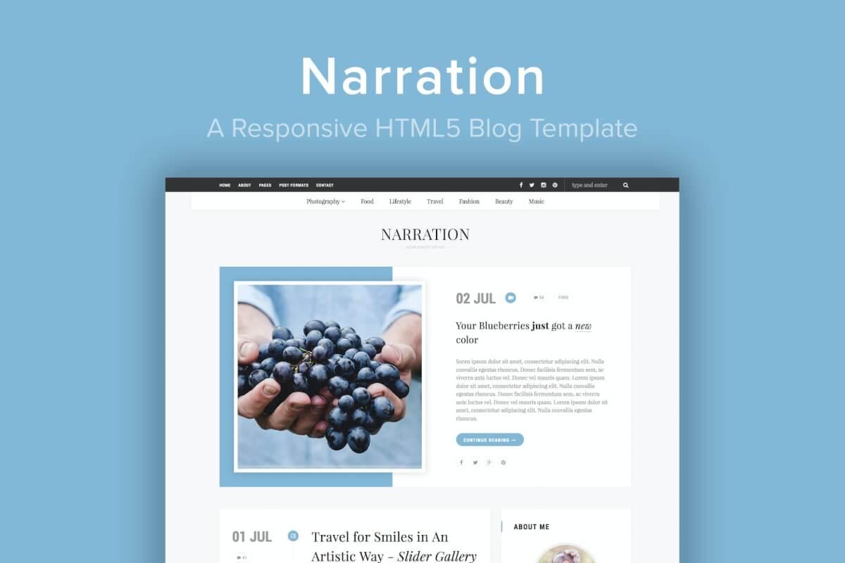 Narration-响应式个人网站HTML5博客模板