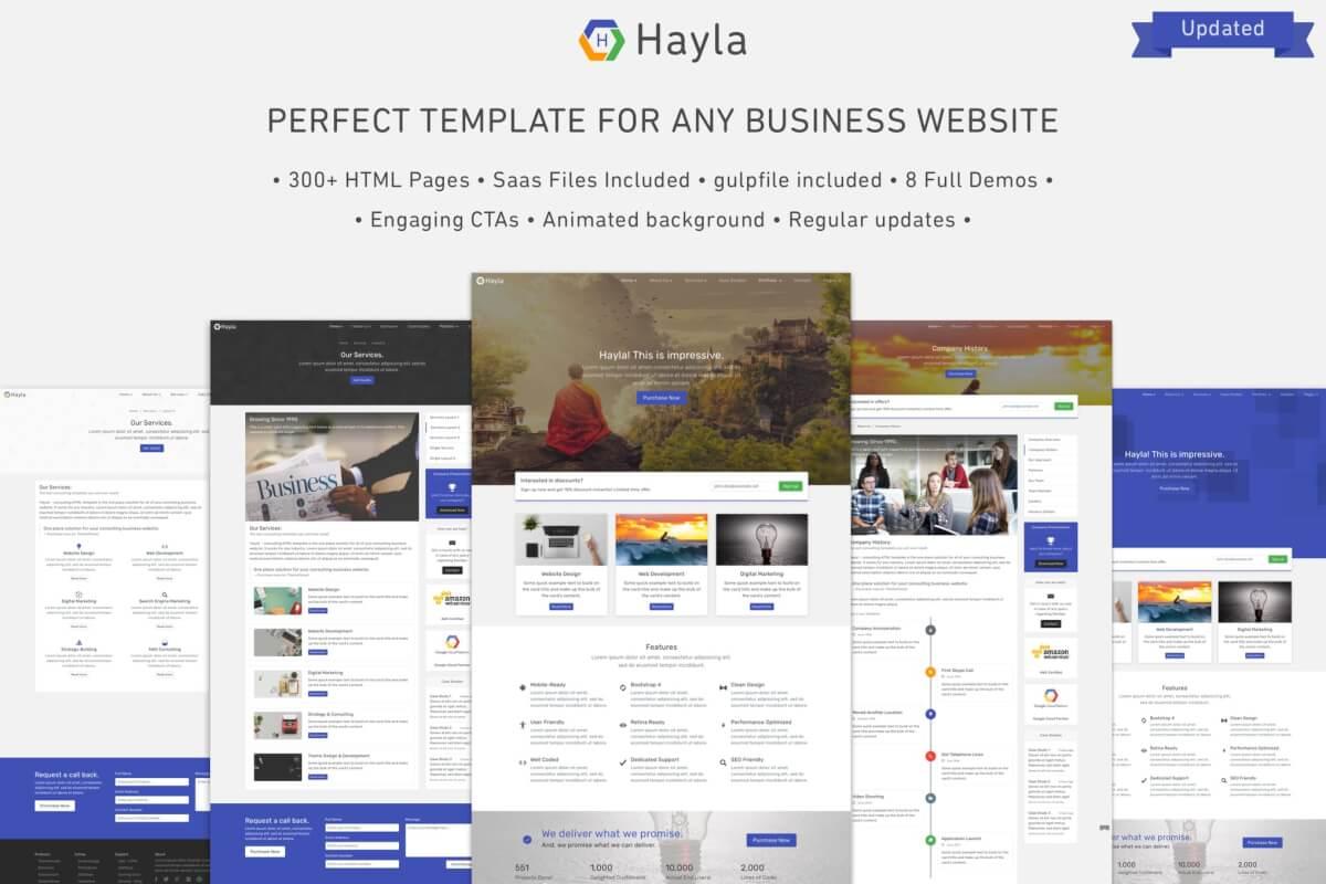 Hayla-多功能商业Bootstrap 4的完全响应网站html模板