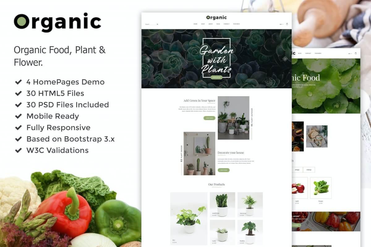 Organic-植物花卉和食品网站HTML5模板