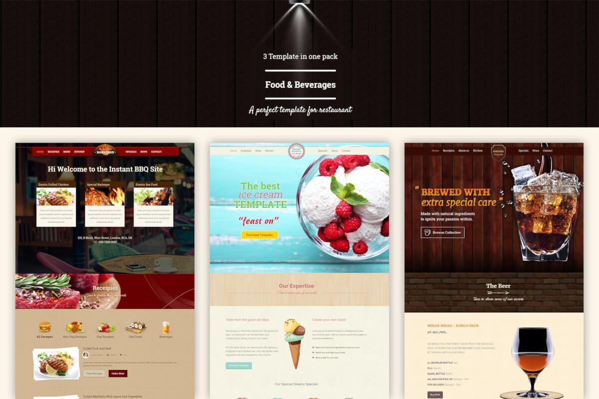 餐饮美食行业网站HTML5源码模板