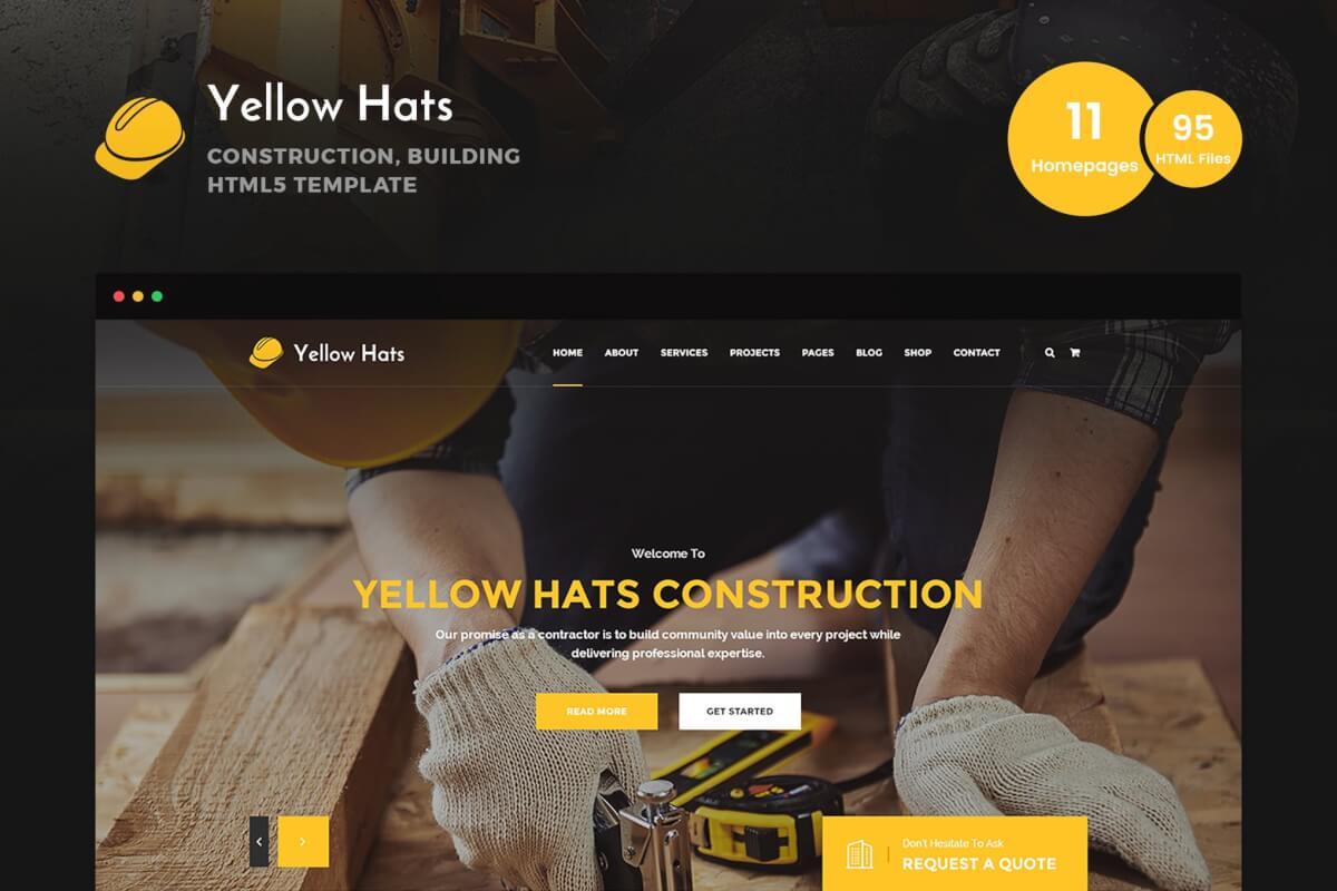 Yellow Hats-建筑房地产行业官网设计和前端Bootstrap html模板