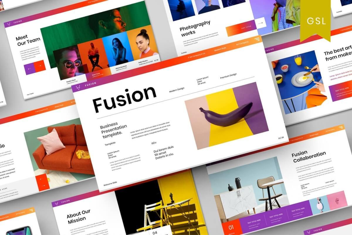 Fusion-极简多彩渐变商业Google幻灯片模板