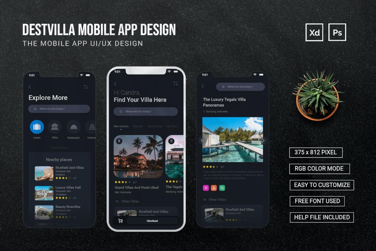 Destivilla-暗色酒店应用程序APP设计