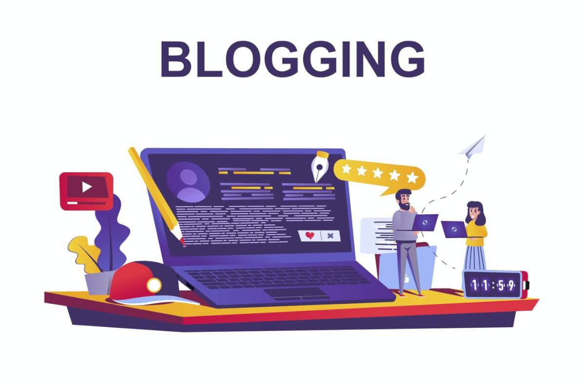 卡通风格的博客服务网络概念插画