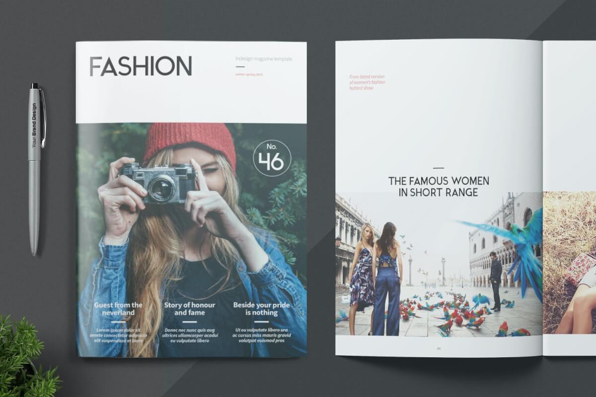 时尚唯美旅游杂志封面简约画册设计模板