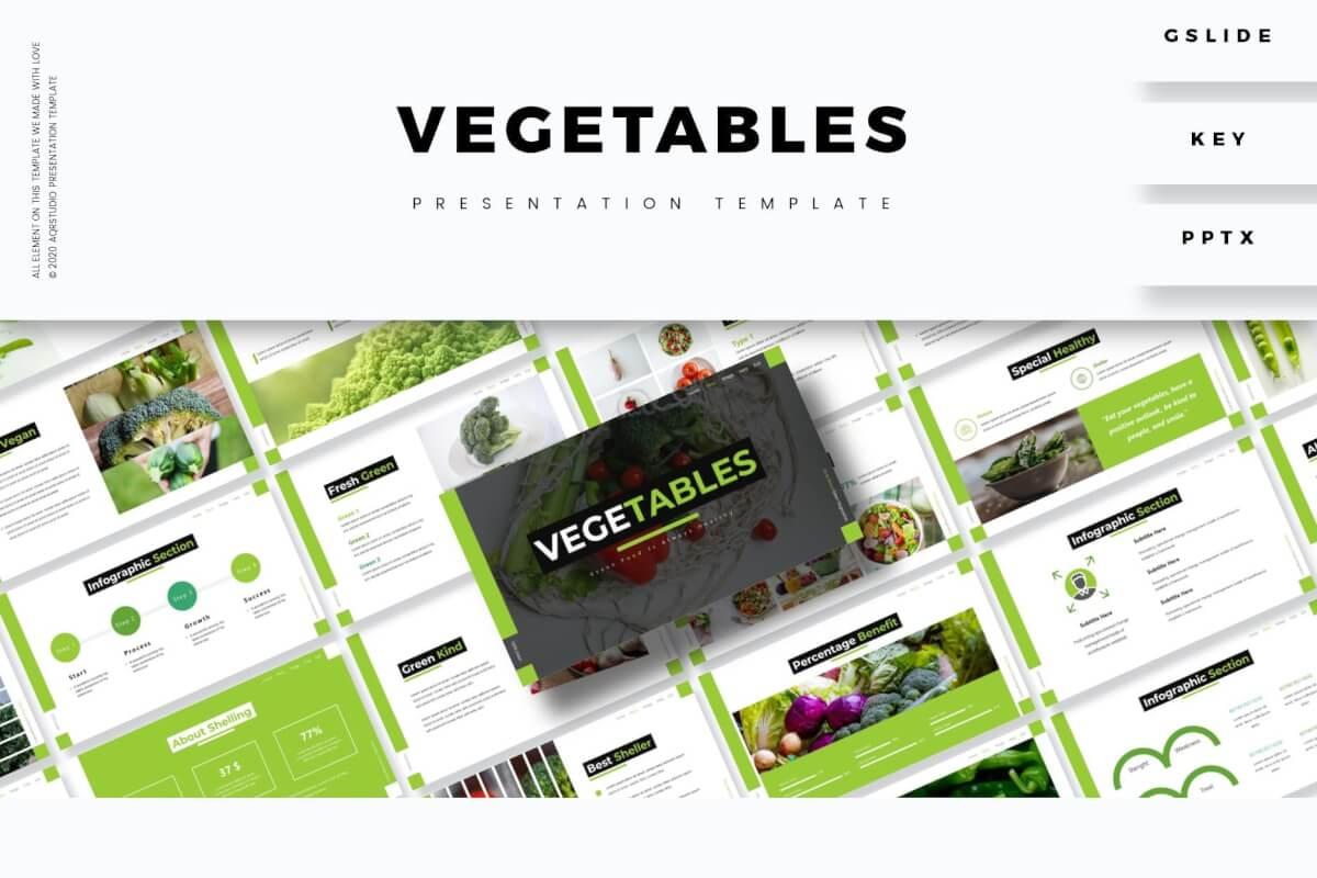 清新蔬菜水果主题通用PPT模板