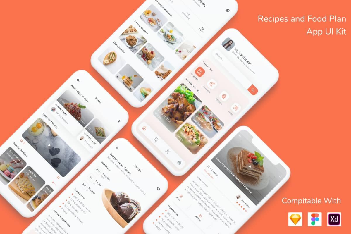 美食菜谱在线分享app ui kit界面设计模板