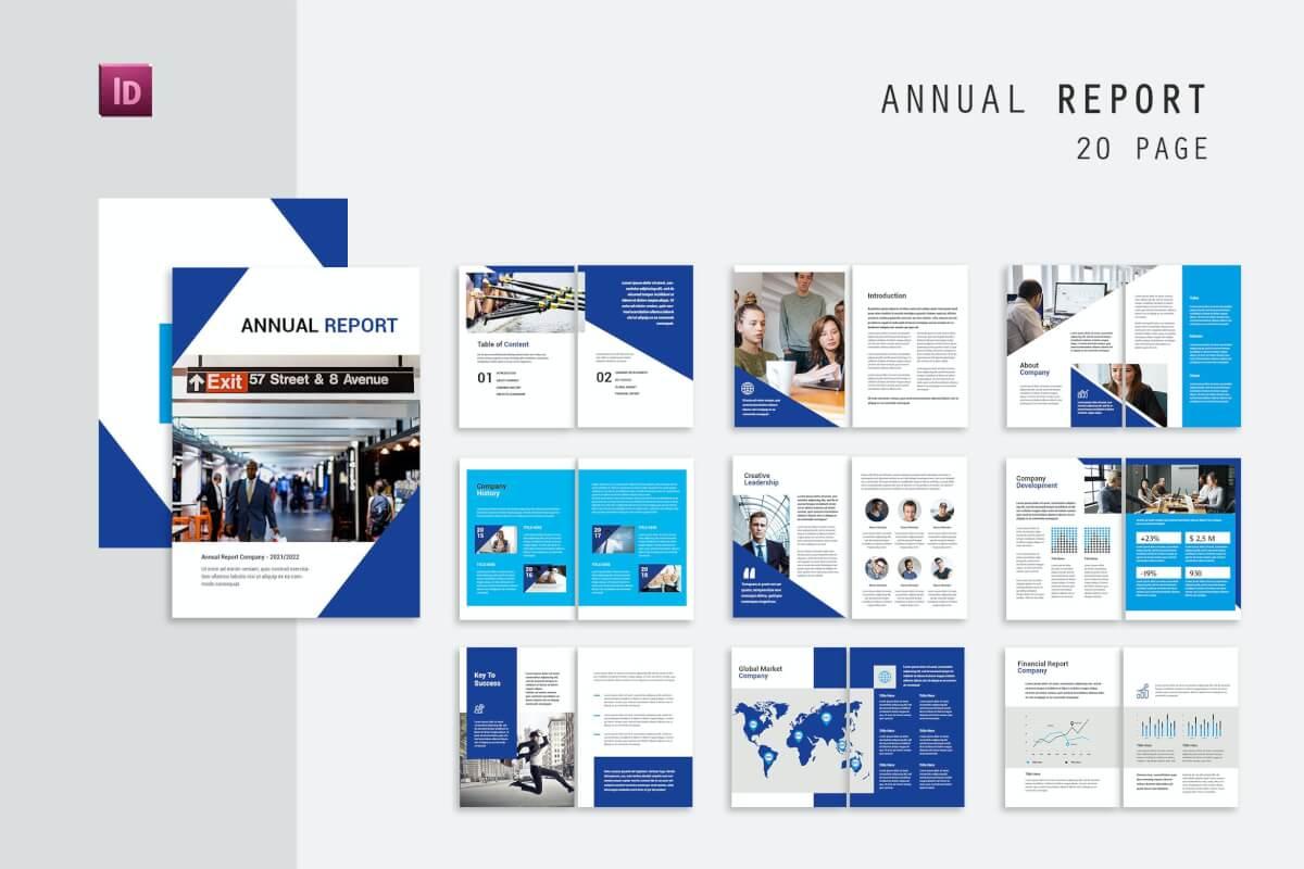 蓝色时尚大气公司年度报告手册模板