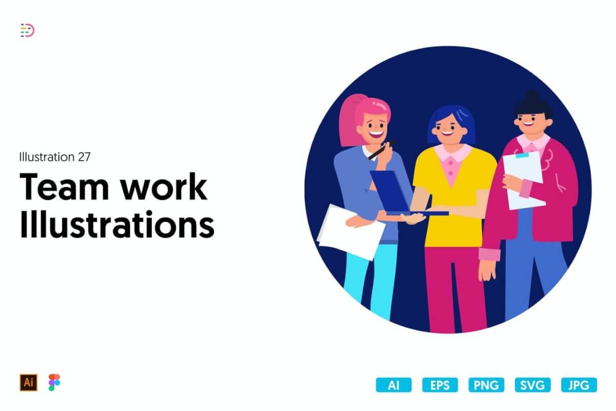 团队办公室团队合作插图下载
