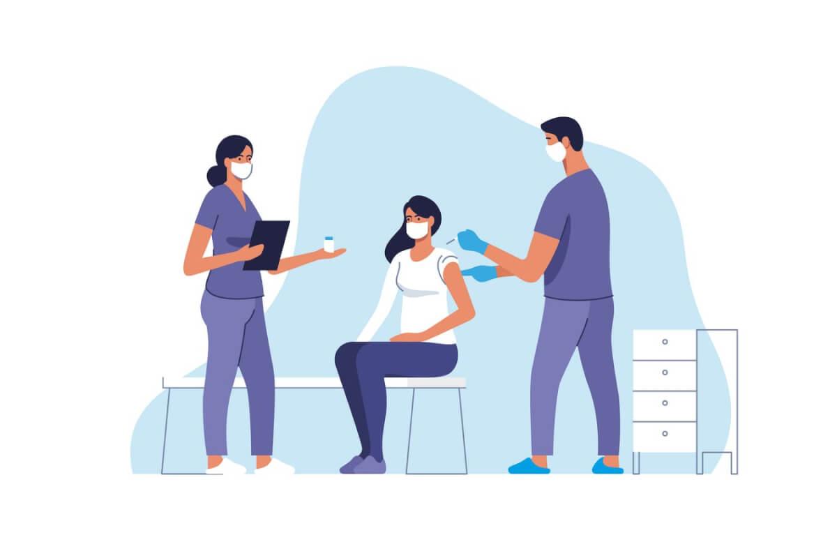 冠状病毒疫苗接种插画