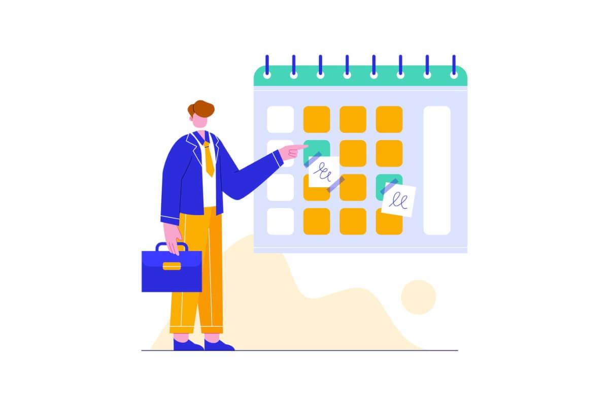 商人管理时间表图插画