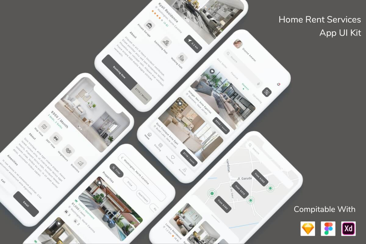 房屋租赁服务App 设计UI kit模板