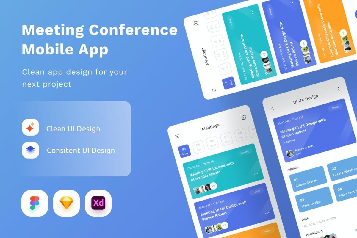 会议项目任务管理app UI Kit设计模板