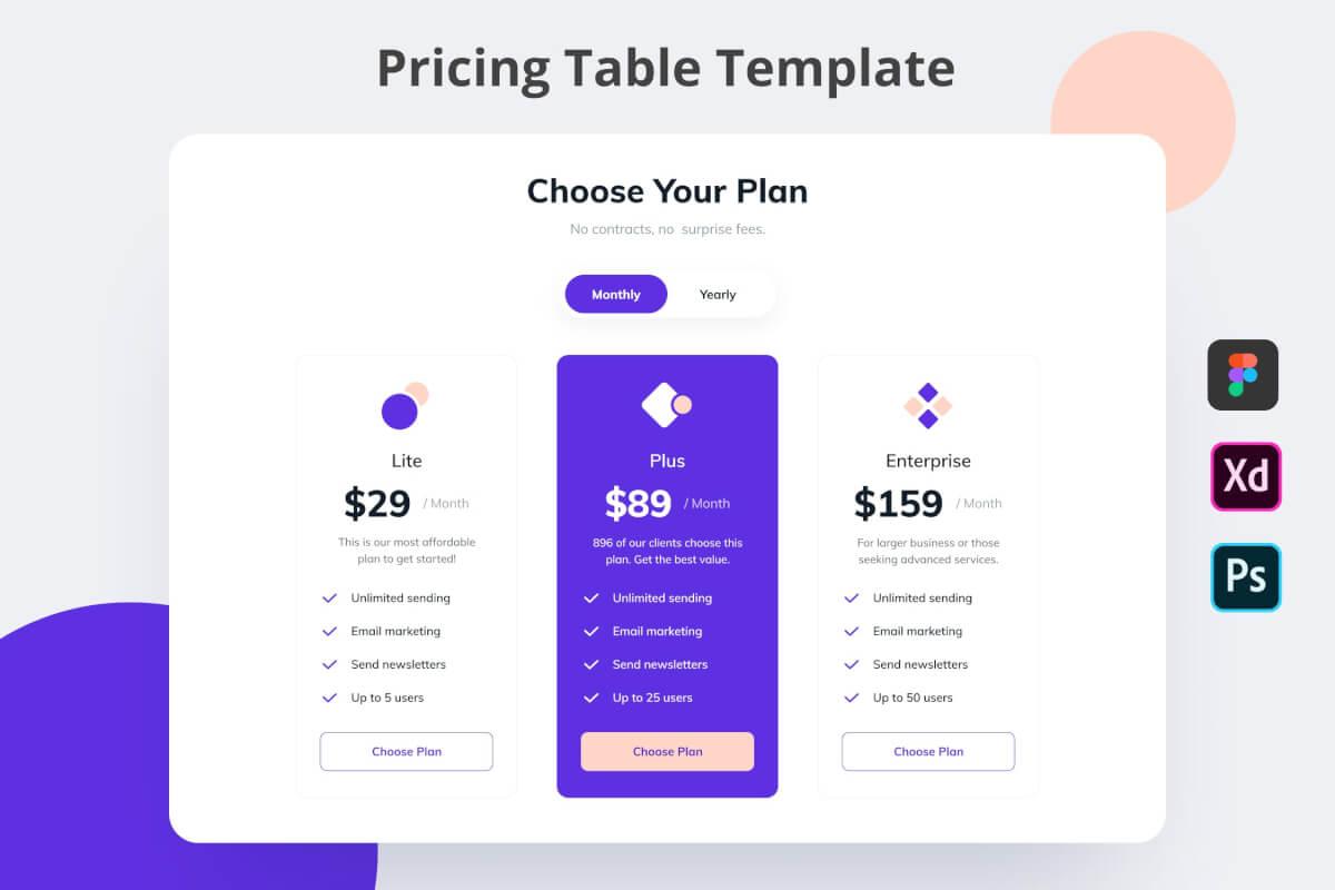 定价计划用户界面网页价格表UI设计组件模板