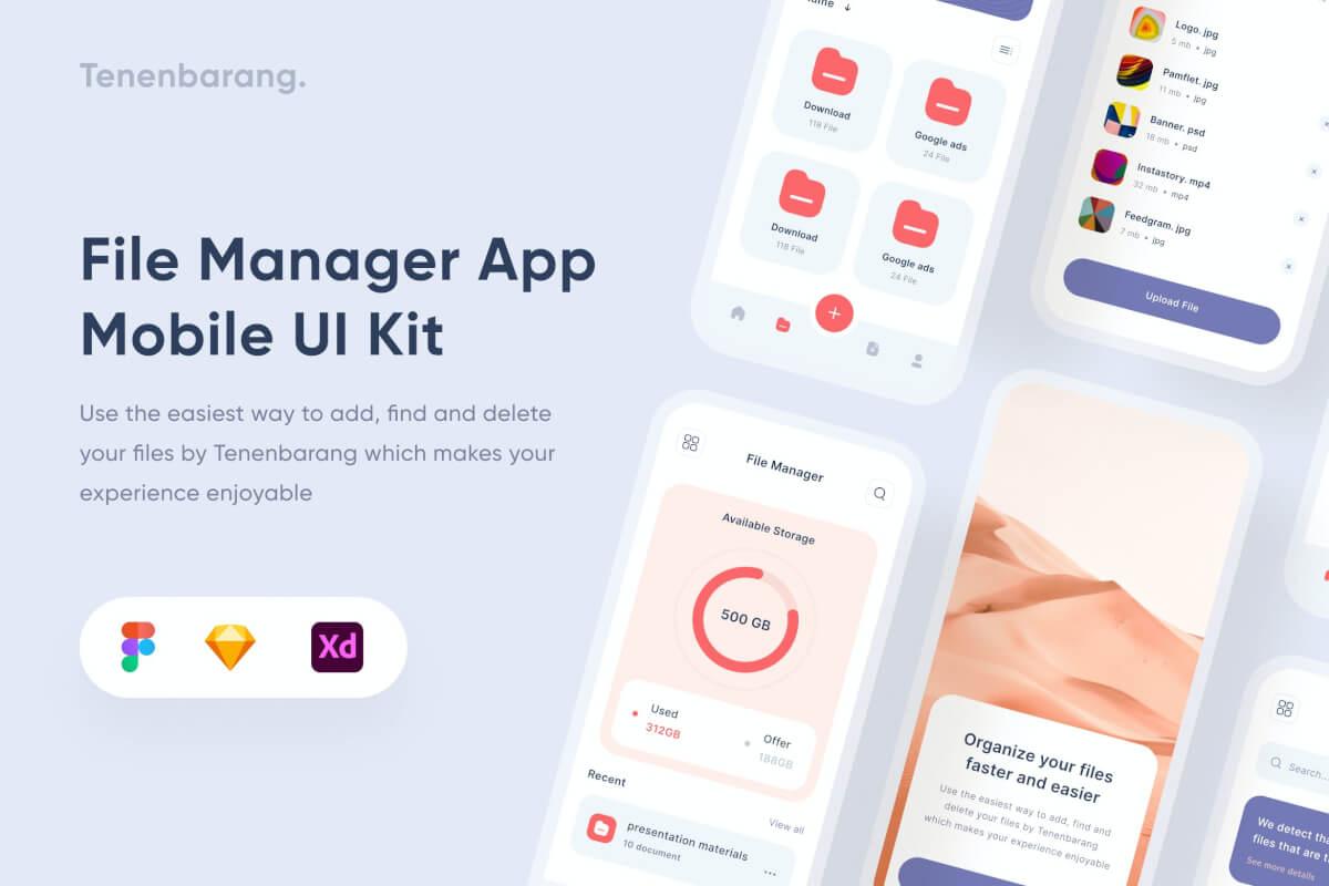 Uixasset-文件管理手机app界面设计模板