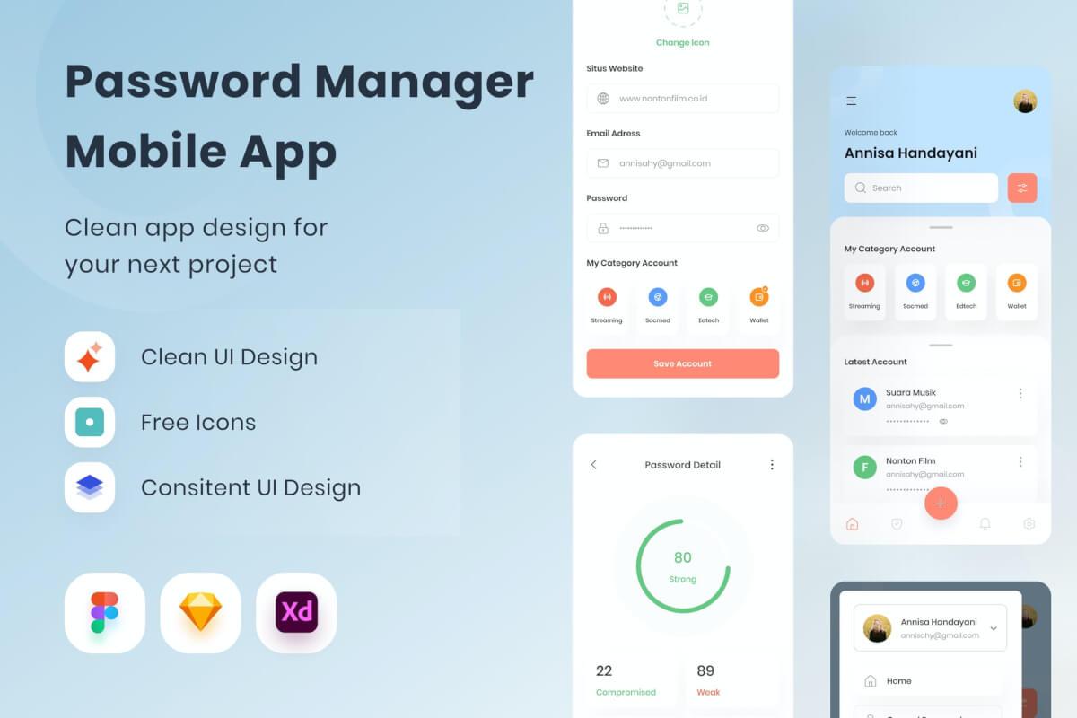 密码管理器app UI Kit设计模板
