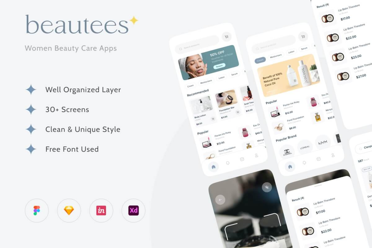 Beuatees-美容产品应用程序 UI 套件
