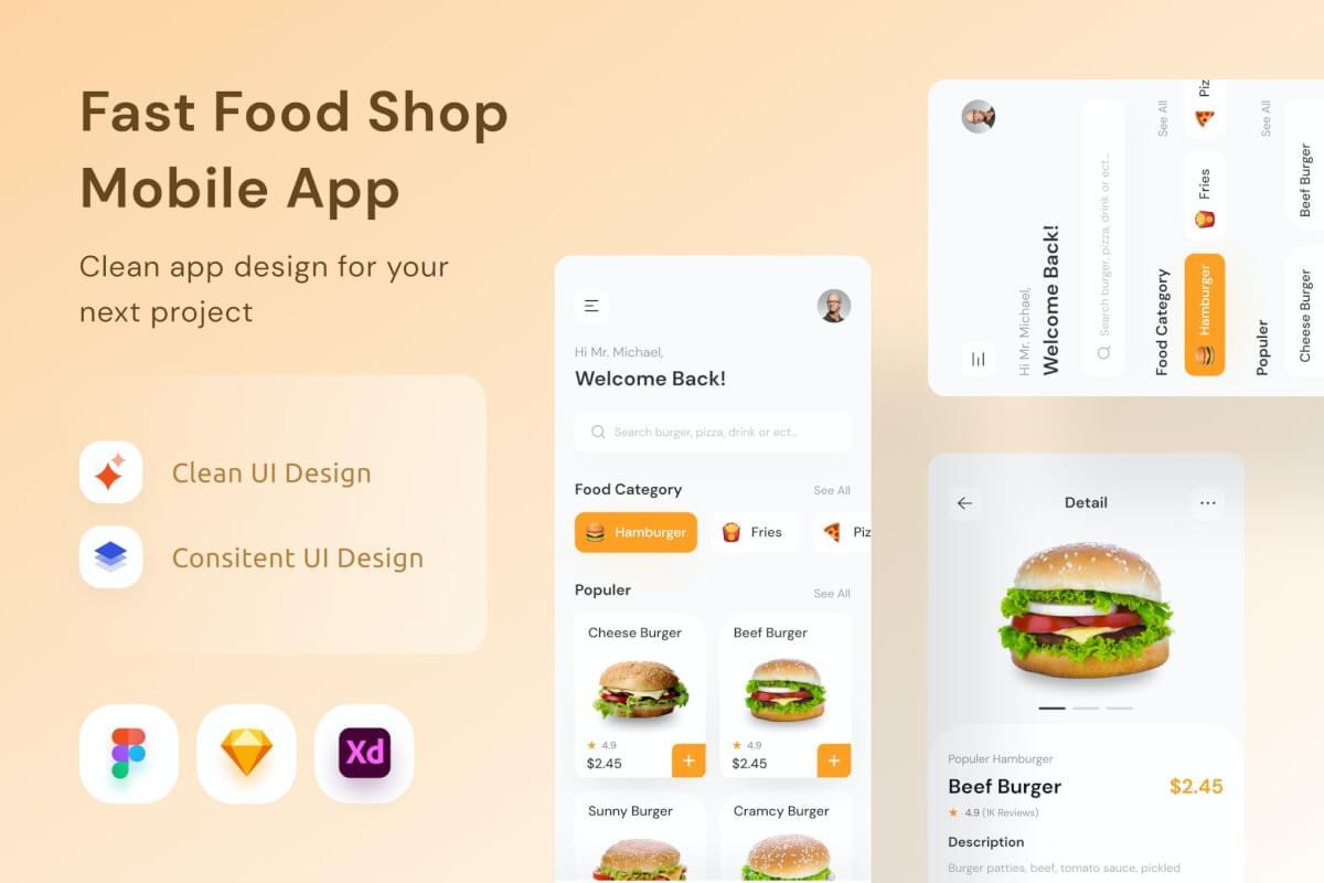 快餐店app ui kit界面设计模板