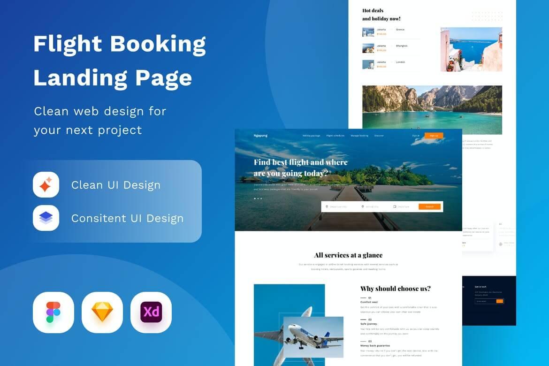 航班预订着陆页网页设计模板
