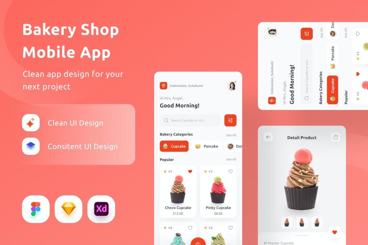 面包店美食app界面设计模板