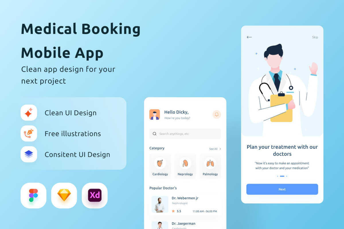 在线问诊医疗挂号服务app页面设计模板