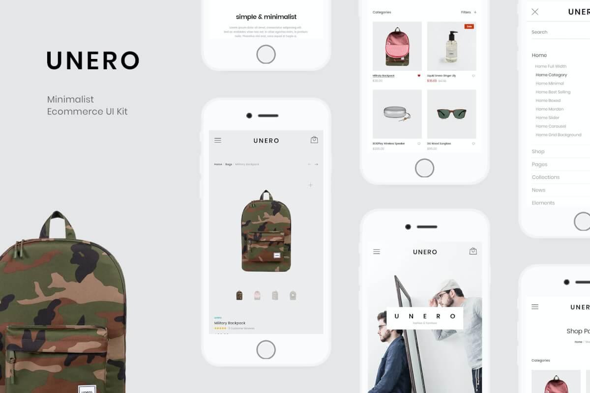 Unero-极简电子商务 UI 套件 PSD 模板