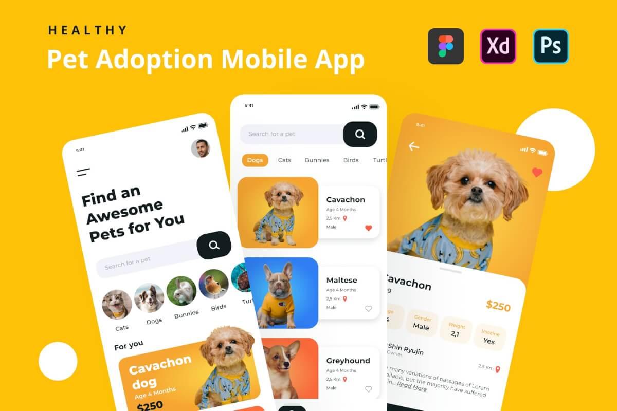 简约的领养宠物app UI kit设计模板