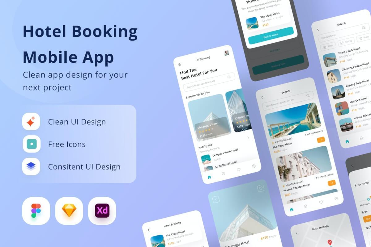酒店预订app UI kit设计模板