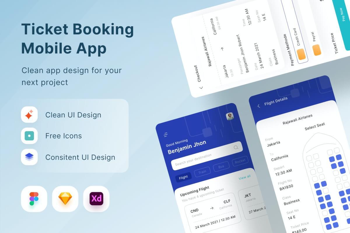 订票任务管理app UI kit设计模板