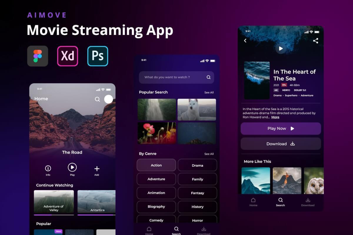 Aimove-电影流媒体app UI Kit设计模板