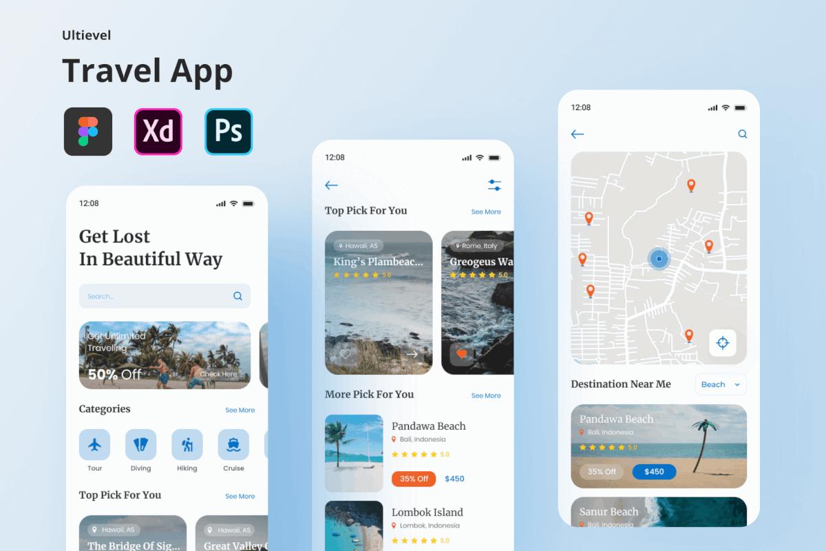 Ultievel-旅行出游度假app UI Kit设计模板