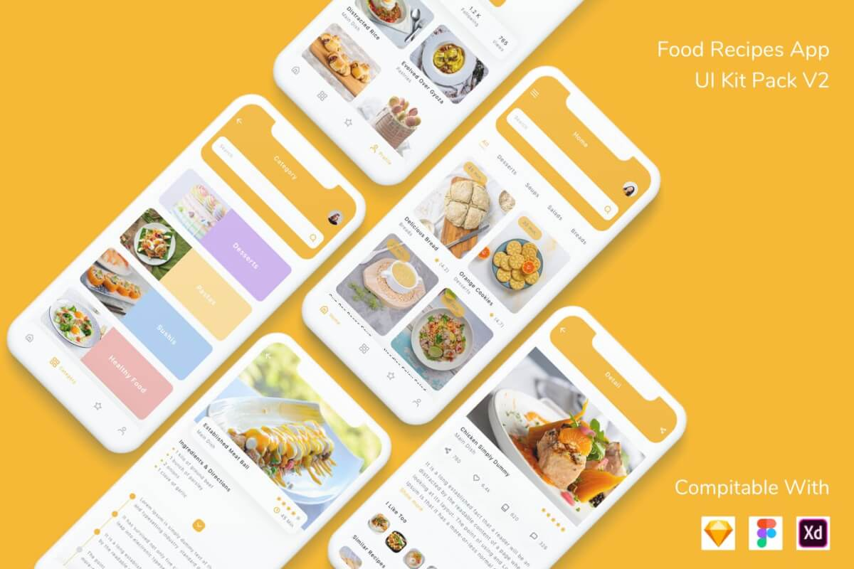 现代风格的美食主题app UI kit设计模板