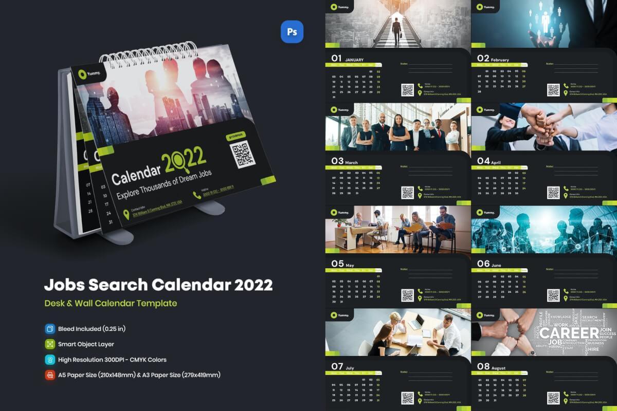 2022 年墙上和桌面工作日历台历和挂历