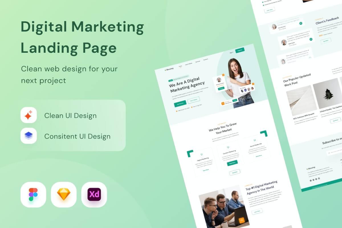 数字营销网站设计页面模板