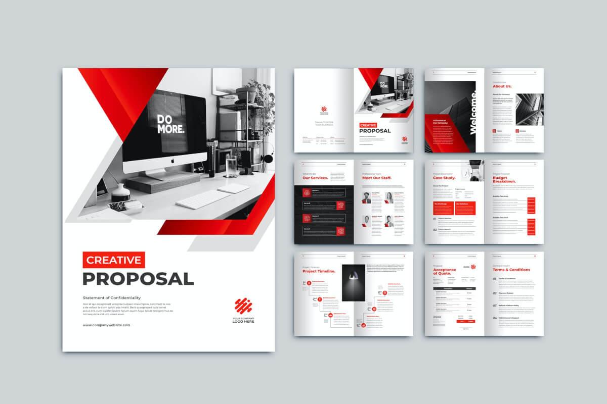 红色商务科技公司画册设计模板