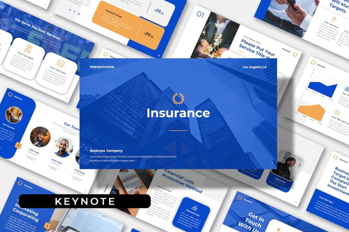 保险公司业务介绍蓝色主题演讲Keynote模板