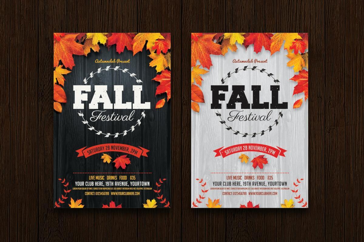 秋季节日传单海报PSD模板
