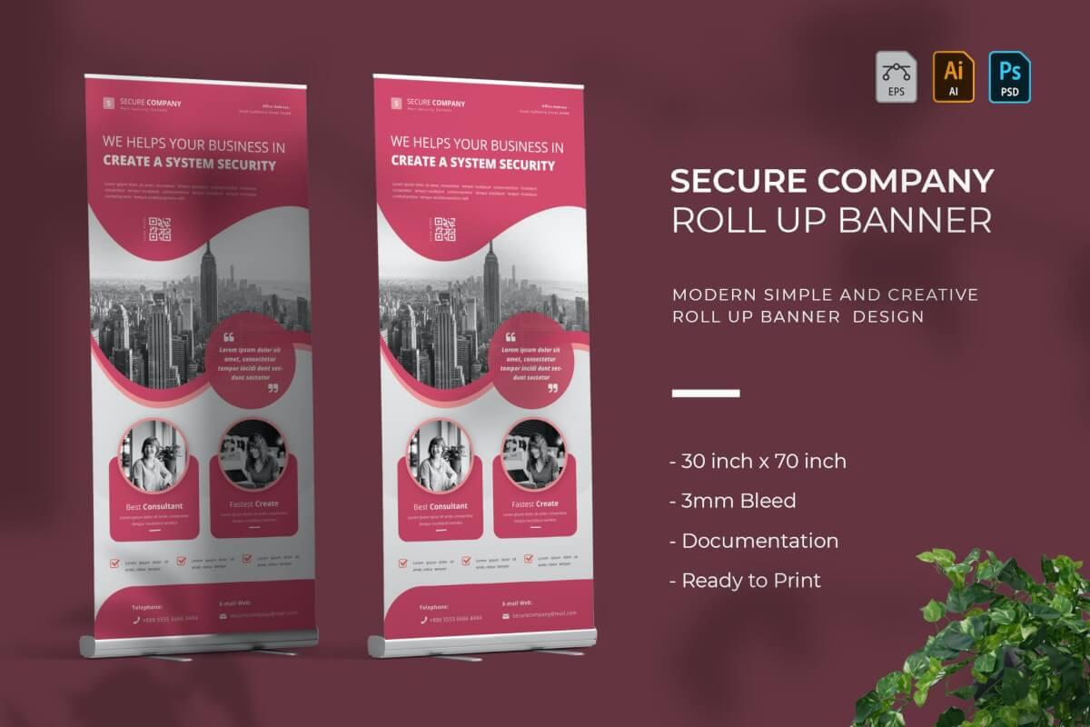 粉红色公司传单海报PSD模板