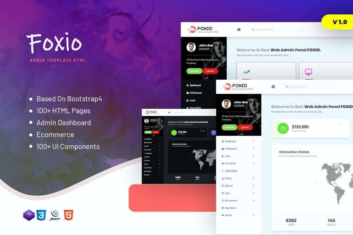 Foxio-响应式后台管理仪表板模板