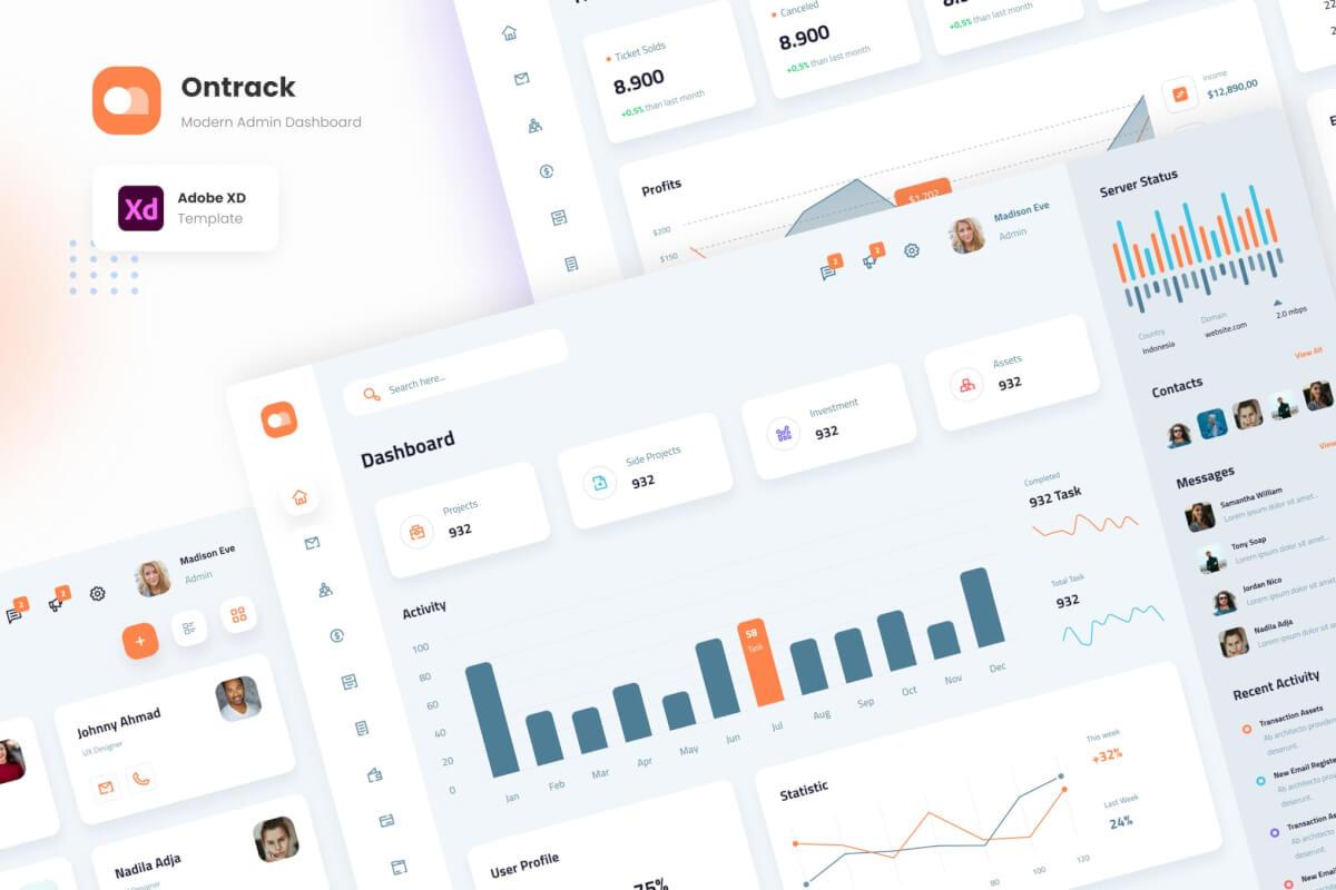 Ontrack-干净的现代管理仪表板模板