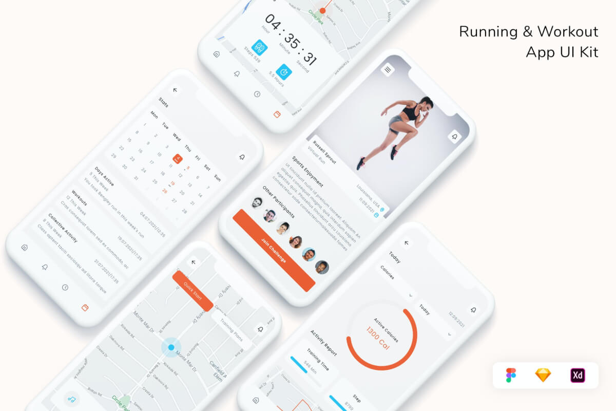 跑步和锻炼应用程序 UI 套件