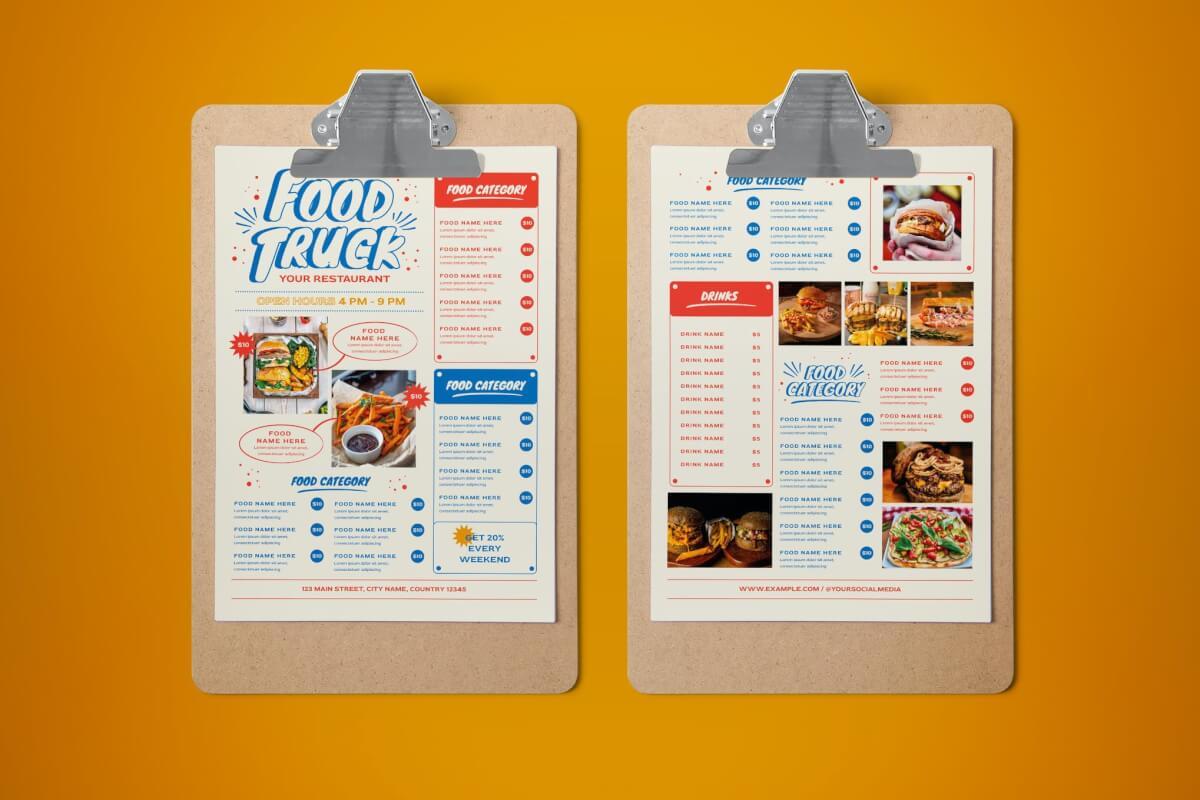餐车菜单传单海报模板