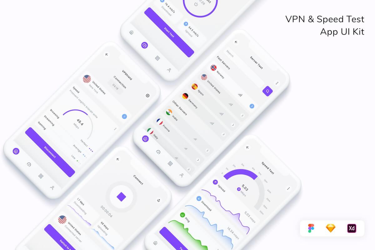VPN 和速度测试应用程序 UI 套件