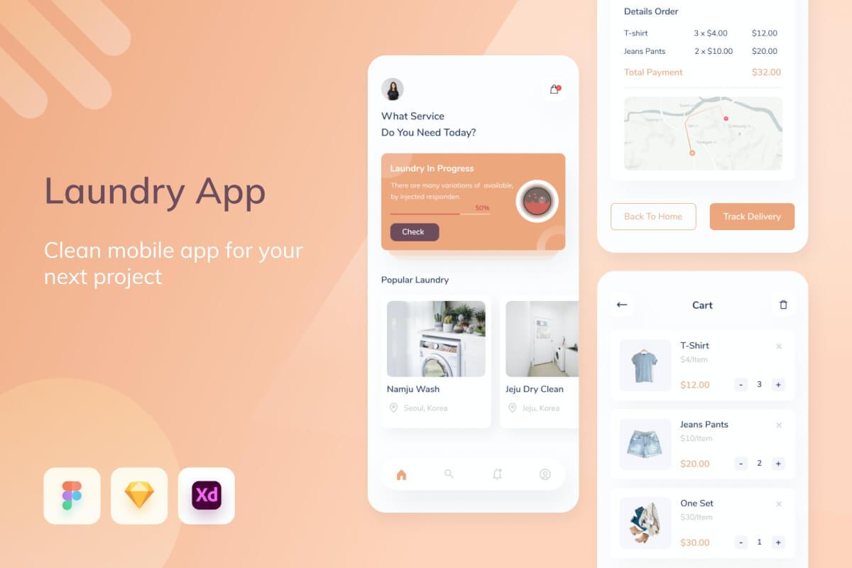 Uixasset-洗衣移动app设计模板