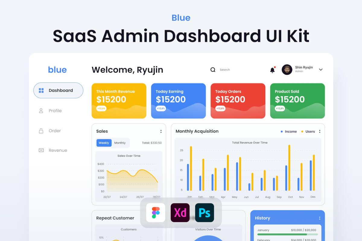 SaaS-蓝色管理仪表板 UI 套件